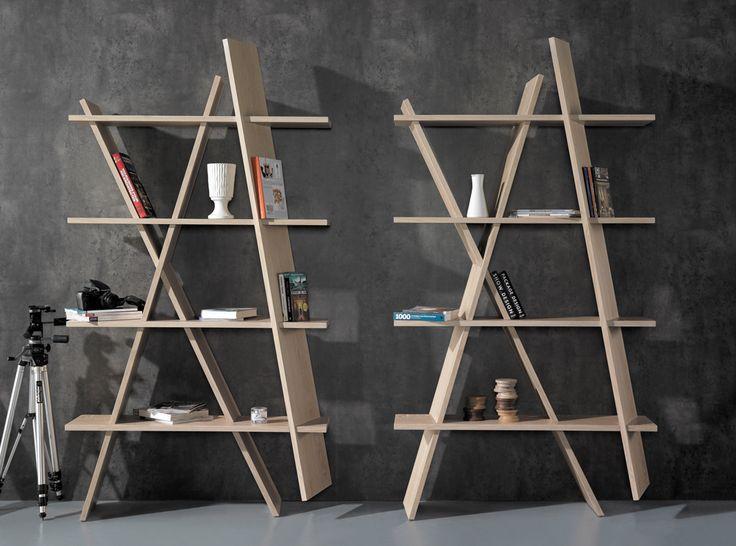 Wewood #XI wooden shelf in oak, assembled like a puzzle. #bookshelves #ideas #wood #oak #wewood