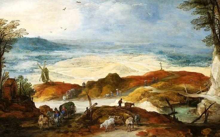 Joos de Momper the Younger (1564 - 1635). Пейзаж с  путешественниками и крупным рогатым скотом в дюнах. около 1610-1615