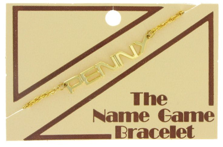 Awesome 1970s Name Game Bracelet Inspired by the 1960 -70s Name Game (or Banana Song)  Type: Bracelet Designer: Private Label Materials: Metal Metal: Gold Tone Size: 7 x 1/4 Condition: Very Good-Excellent  Clasp: Spring Clasp  Source: Vintage Unsold Inventory Period: 1970s  Variations: Only 2 stocks available for each design Stock No: 1632-37 Lynn Stock No: 1632-44 Penny Stock No: 1632-66 Tracy See our store listings for more names!  Back to our store: https://www.etsy.com&#x2F...