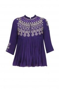 Purple Resham Embroidered High Neck Top with Beige Pants #samatvam #anjalibhaskar #shopnow #ppus #happyshopping