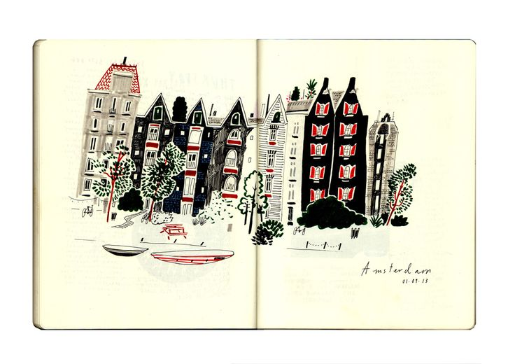 Nina Cosford sketchbook page - amsterdam