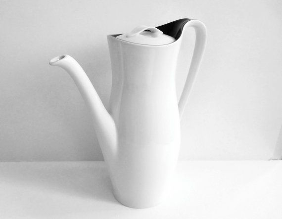 Minimalist modernist teapot coffeepot black and white by regarding