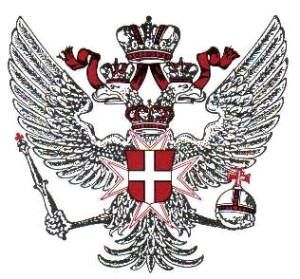 "Knights of Malta:the double-headed eagle emblazoned with the Maltese cross, signifies omnipotent royal dominion over both East and West. The orb signifies temporal dominion over the globe of Earth, and the scepter signifies control over the spiritual and religious impulses of humanity. This eagle symbol is used in the masonic rite of Memphis and Misraim, under which it reads, ""Order Out of Chaos"", the Hegelian method of crisis creation."