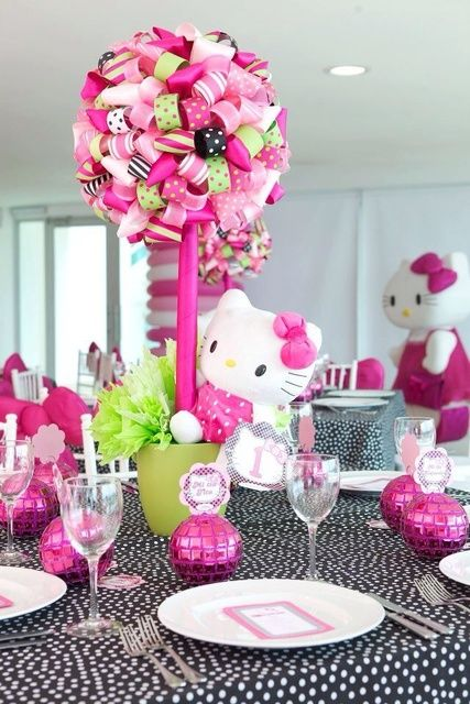 Incredible Hello Kitty girl birthday party table centerpiece!  See more party ideas at CatchMyParty.com!