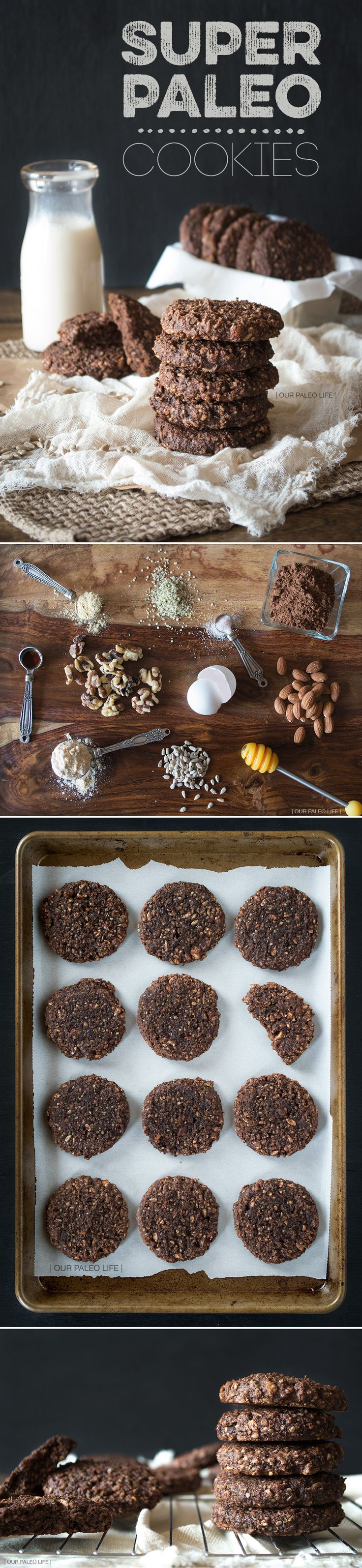 Super Paleo Cookies: chocolatey, crunchy, chewy, packed with good, energy boosting ingredients.