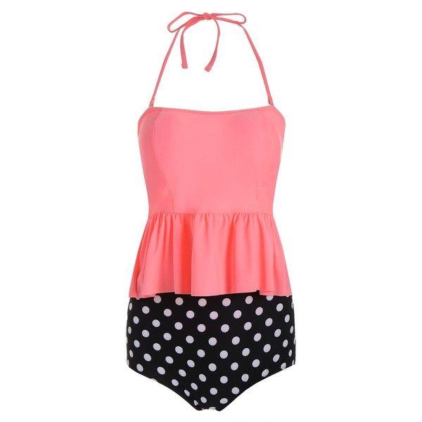 High Waist Peplum Polka Dot Tankini (29 BAM) ❤ liked on Polyvore featuring swimwear, bikinis, high rise bikini, high waisted swim wear, high-waisted bikinis, high waisted two piece and polka dot tankini