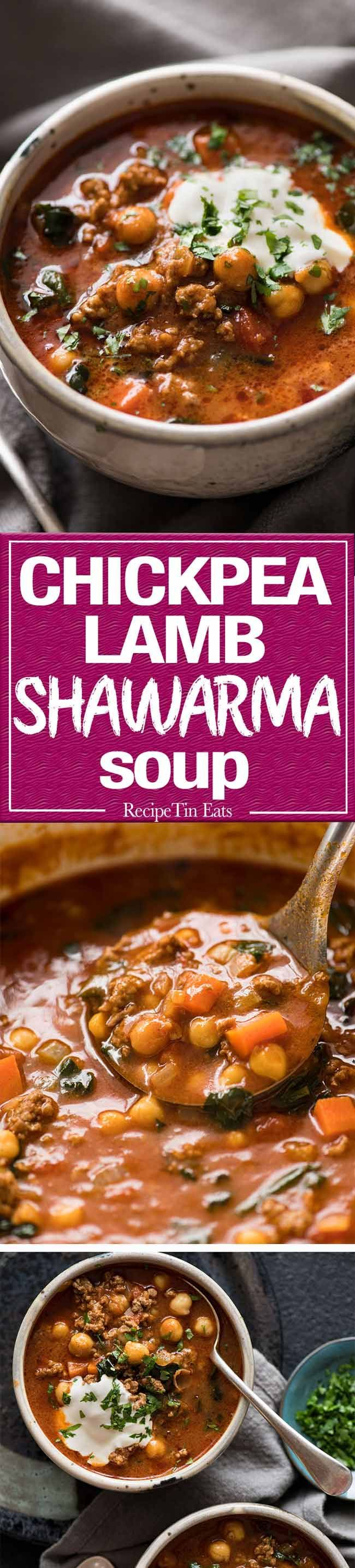 A chickpea soup exploding with flavour! Tastes like Chicken Shawarma in soup form with lamb, quick to make, nutritious and filling.