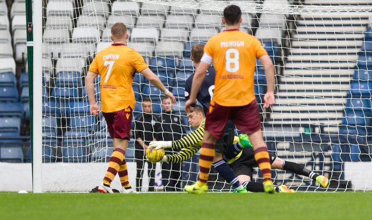 Queen's Park's Wullie Muir saves during the Betfred Cup game between Queen's Park and Motherwell.