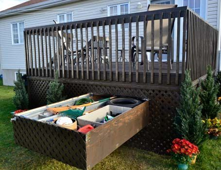 Pull out storage drawers for the deck. To put cushions and my props! - Best 25+ Patio Cushion Storage Ideas On Pinterest Garden Storage