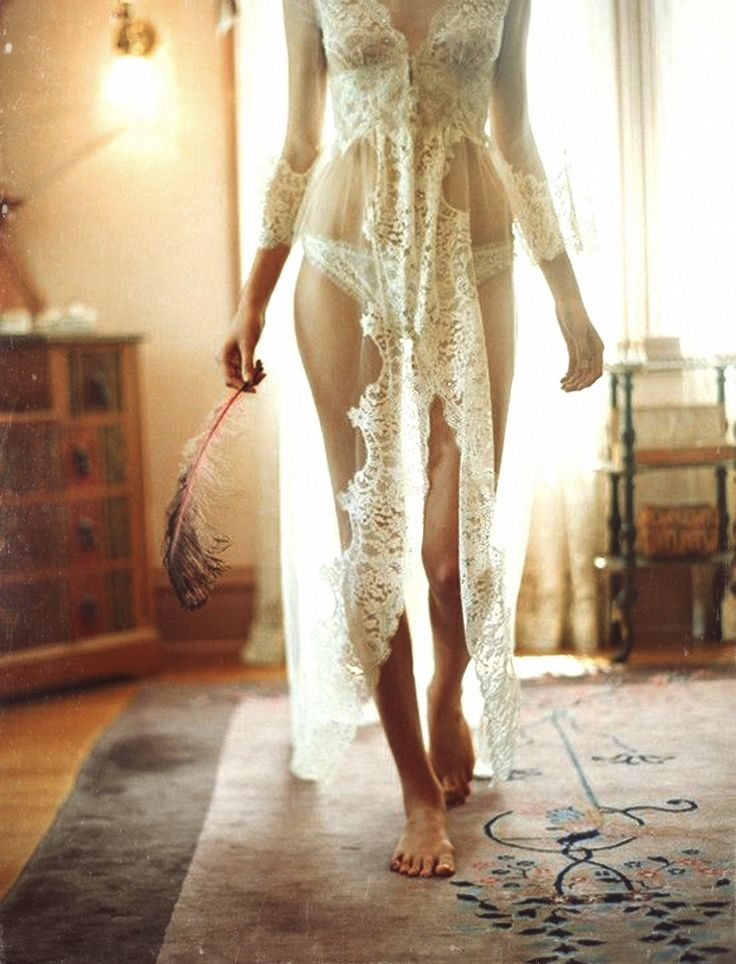 Pairing lingerie with a long lace robe will add texture and elegance.