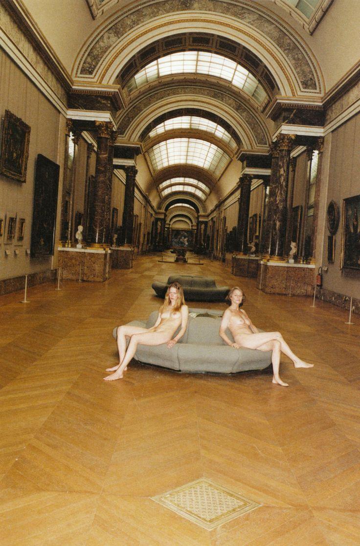 Raquel Zimmermann & Charlotte Rampling at the Louvre, photographed by Jurgen Teller