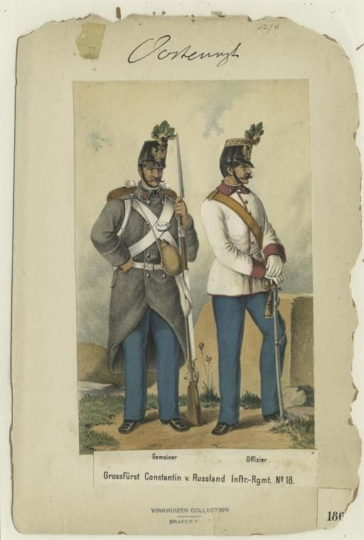 Austrian infantry in full dress uniform. The soldier on the left is wearing the grey great coat under his accouterments.