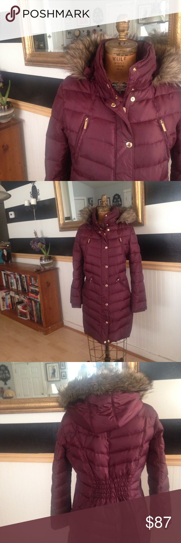 Burgundy Michael Kors puffer coat Long down puffer coat with both Zip and button closure. Removable fur-lined hood. Excellent condition. MICHAEL Michael Kors Jackets & Coats Puffers