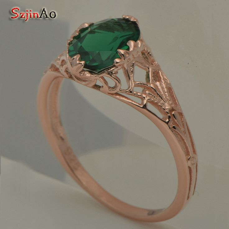 Szjinao custom natural oval green stone ring true rose gold color engagement wedding ring wholesale