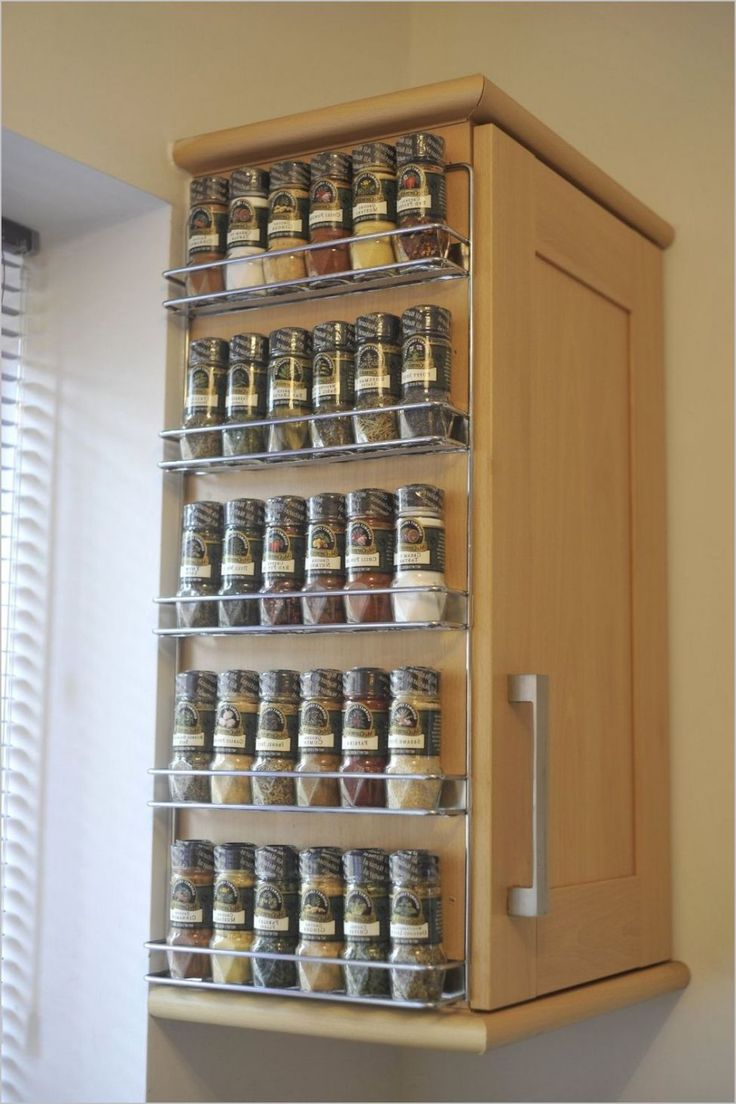Wall spice rack ideas home interior design styles for Racks for kitchen storage