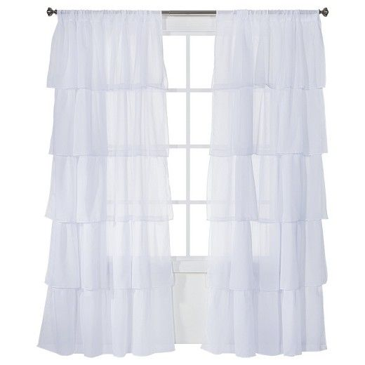 "Enhance the decor of your living space with the elegant appeal of the Xhilaration Ruffle Curtain Panel. With its sheer appearance and billowing design, the Ruffle Curtain Panel brightens any room in your home with a soft splash of color and light. Rod pockets add a stylishly gathered touch that works with most standard curtain rods (sold separately). Measuring 50"" x 84"", this Panel is large enough to give your windows a sleek and sophisticated touch."