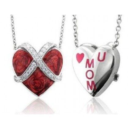 Red Heart -- Diamond Heart Sterling Silver Pendant