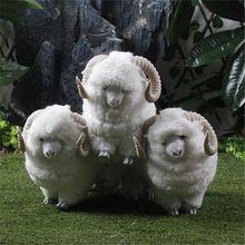 Three White Sheep Chinese Zodiac Figurine Three Yangs Bring Bliss Good Lucky Sheep