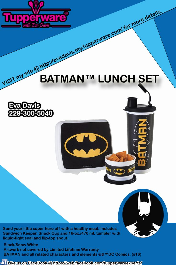Check out the new lunch box styles from Tupperware! BATMAN Lunch Set. To know more about the details, Contact me now to place an order @ (229) 300-5040 VISIT my site @ http://evadavis.my.tupperware.com/ for more details. Like us on FaceBook @ https://web.facebook.com/tupperwareexperts/ #tupperwarebrands #tupperware #consultant #Evastupperwareexperts #Batman