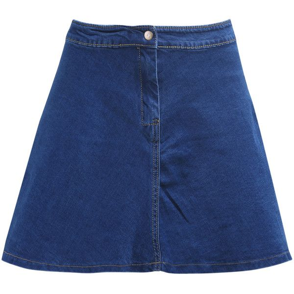 With Button Flare Denim Skirt (€15) ❤ liked on Polyvore featuring skirts, bottoms, blue, denim skirt, knee length denim skirt, flared skirt, knee length a line skirt and knee length flared skirts