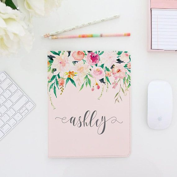 Watercolor Floral Header Monogram Custom iPad Case - iPad 2  Linen color Traditional Font The White Barn