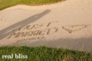 cute golf course wedding picture