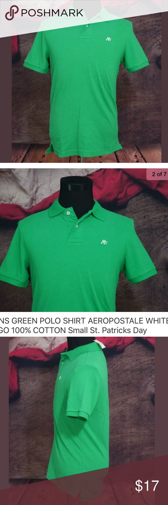 """GREEN POLO SHIRT AEROPOSTALE S St. Patricks Day New With Tags MENS GREEN POLO SHIRT AEROPOSTALE WHITE LOGO 100% COTTON Small St. Patricks Day    Size: Small  Color: Green  Material: 100% Cotton  Measurements: Bust: 19.5"""" / Sleeve: 9"""" / Length: 28"""" Aeropostale Shirts Polos"""