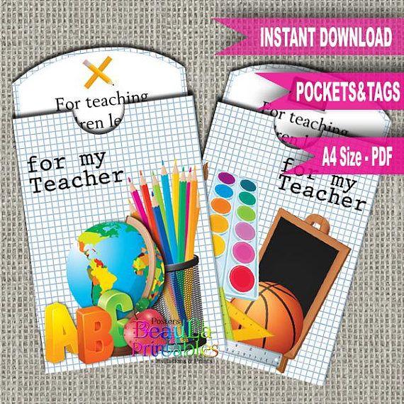 Teacher Gift Tag & Pocket Tag Pocket Template Printable Tag