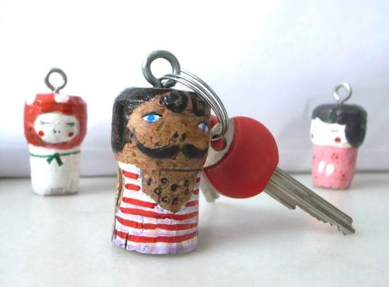 wine cork character key chains