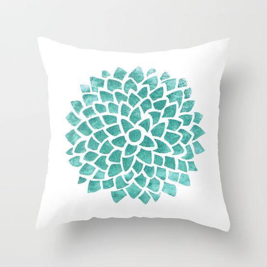 Teal Ice Throw Pillow