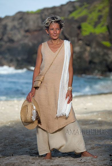 Flax linen outfit: long beige tunic and sarouel skirt