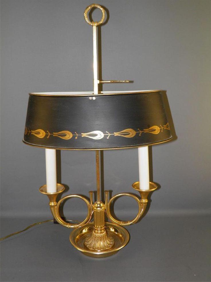 Vintage Gilded Brass Bronze French Bouillotte Horn Lamp
