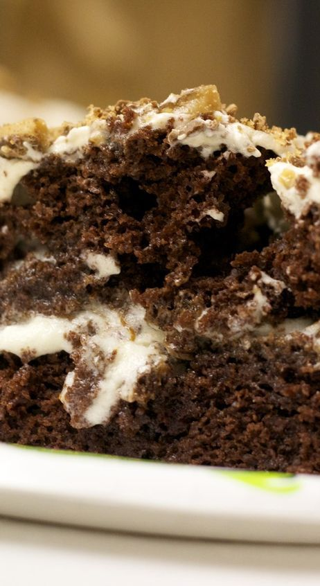 Weight Watchers Friendly Chocolate Caramel Toffee Crunch Poke Cake Recipe - 6 Smart Points