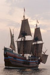 The Pilgrims' Religion: <I>Mayflower II</I>, replica of the original ship <I>Mayflower</I>, which sailed in 1620 bringing the first Puritan Separatist pilgrims to Plymouth, Massachusetts.