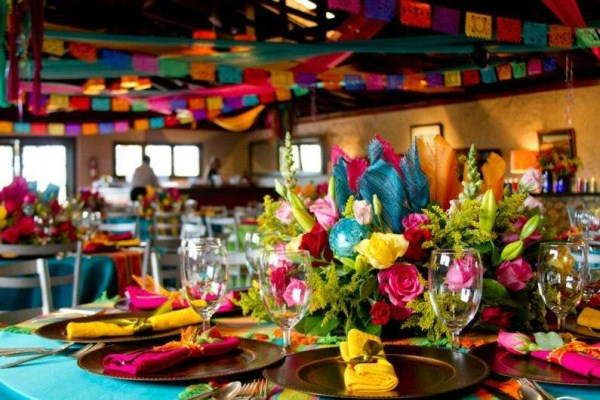 day of the dead or Mexican fiesta theme wedding center pieces.
