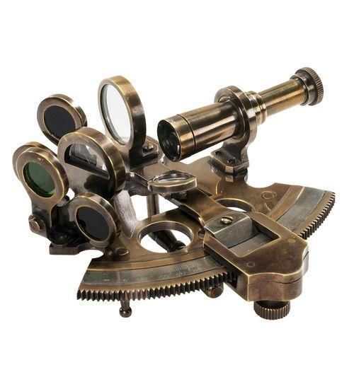 "Bronze Pocket Sextant 4.25"""" Antiqued Nautical Astrolabe Decor"