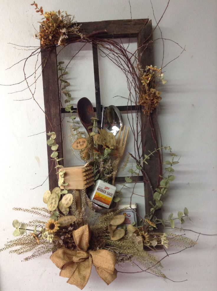 Primitive Kitchen Window Dried Flower Arrangement Prim