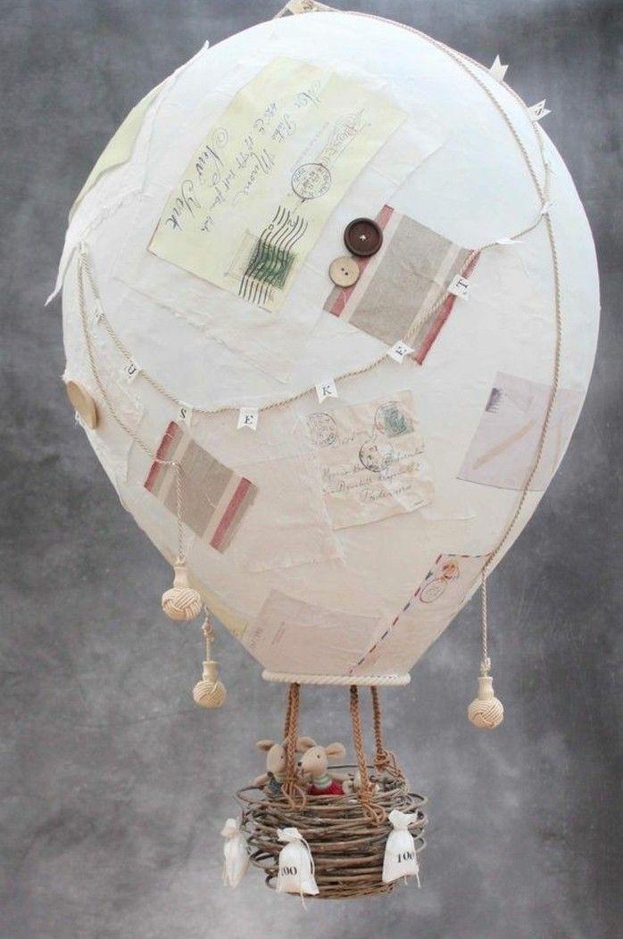 un gros ballon en papier maché, esprit voyage, décoration jouet enfant diy, papier maché tuto