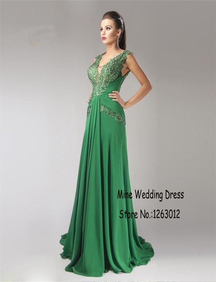 V-образным вырезом зеленые вечерние платья выпускного вечера кружева аппликации-линии этаж длина иллюзия вернуться ну вечеринку платья одеяние де вечер вечернее платье