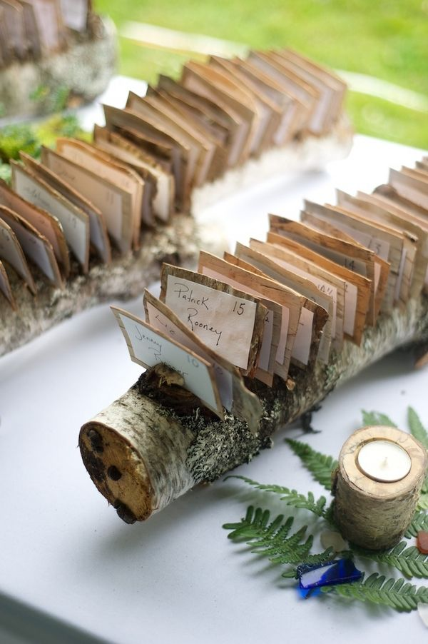 Rustic branch escort card holder