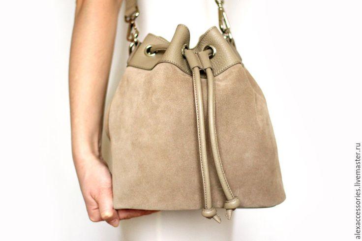 Купить Бежевая сумка из натуральной замши Daisy - женская сумка, замшевая сумка, сумка мешок