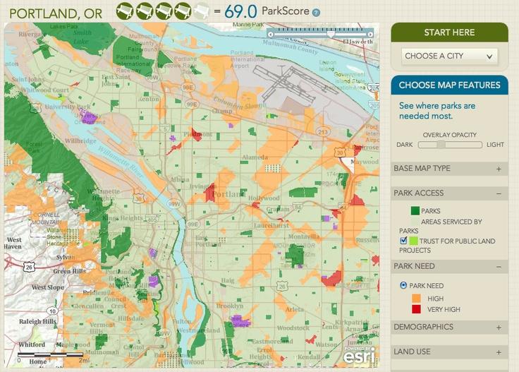 Portland, OR ParkScore map. Courtesy ParkScore