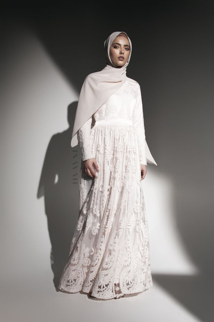INAYAH | Ashlyn Lace #Gown in Pink + Oatmeal Soft Crepe #Hijab - www.inayah.co