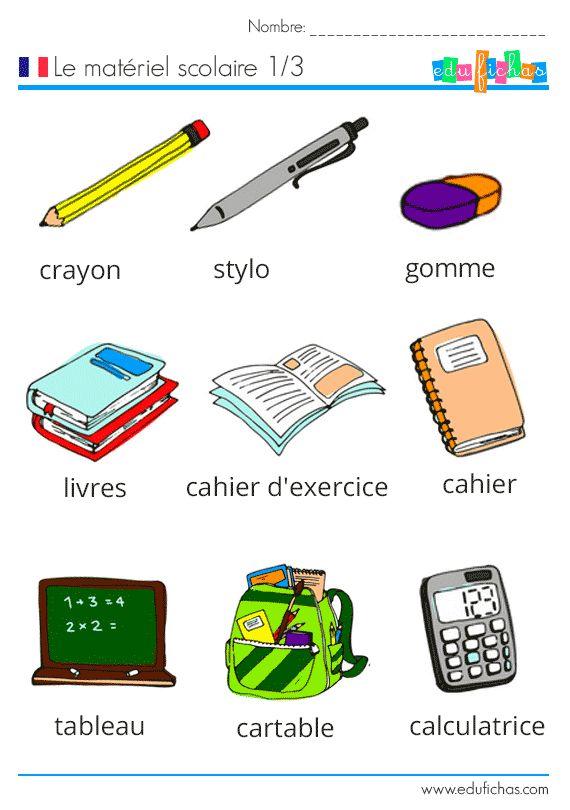 Aprender francés, vocabulario escolar  http://www.edufichas.com/actividades/idiomas/frances/materiel-scolaire-vocabulario-frances/