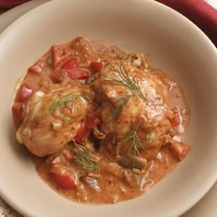Braised paprika chicken. Very healthy, especially if you substitute plain greek yogurt for the sour cream.
