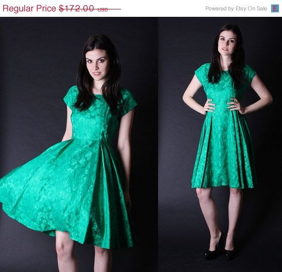 30 OFF SALE  50s Party Dress  Emerald Green Dress  by aiseirigh, $120.40