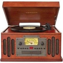 Crosley Wooden Record Player Radio Turntable Entertainment Center AM FM Music CD