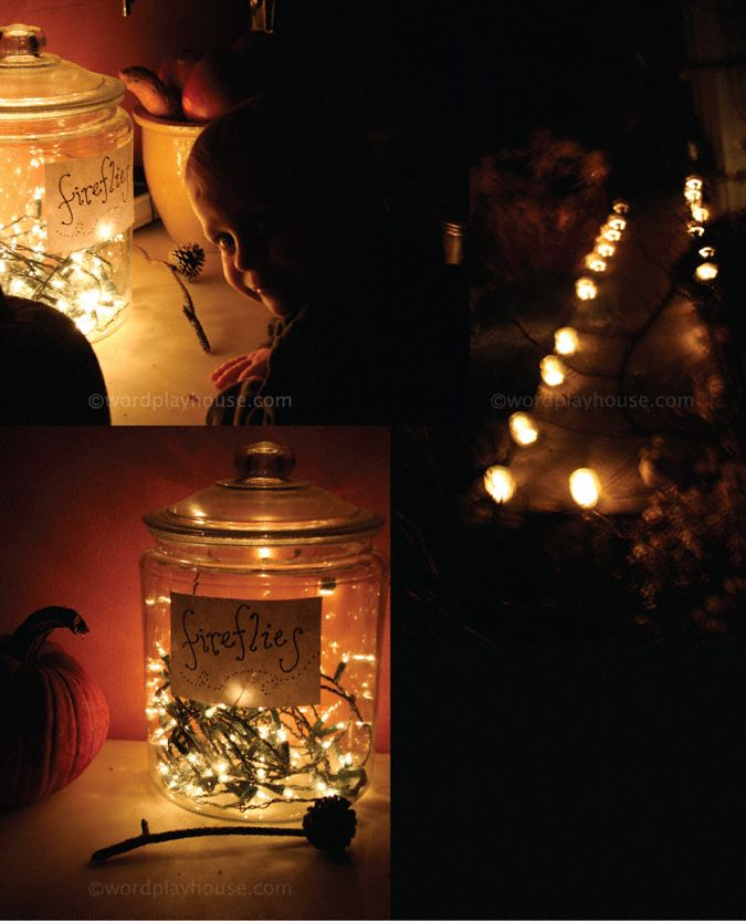 Sweet campfire party, simple decorations fireflies in a jar (Christmas lights & handwritten label)