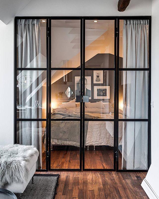 Sovrumsdörrar i glas #realestate #stockholm #design #interior4all