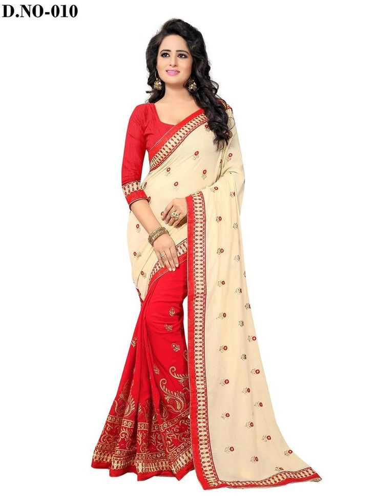 Indian Designer Chiffon Ethnic Wear Bollywood Saree Party Wear Cream & Red #RadhaKrishnaExports #BollywoodSaree #PartyWear